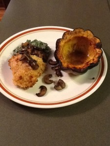 Acorn squash, heart healthy creamed spinach and panko baked chicken. Yum!